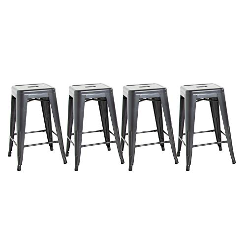 CAP Living Set of 4, Stackable 24 inches Sturdy Square Seat Metal Bar Stools, Colors Available in Glossy Black, Silver or Dark Gunmetal (Dark Gunmetal)
