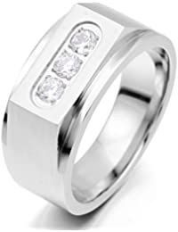 Men's Stainless Steel Ring Band CZ Silver Tone Wedding