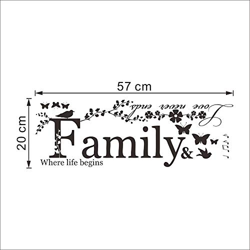 Potelin Wall Decor Stickers Quotes Love Never Ends Flower Family Quote Wall Stickers Vinyl Decals by Potelin (Image #4)