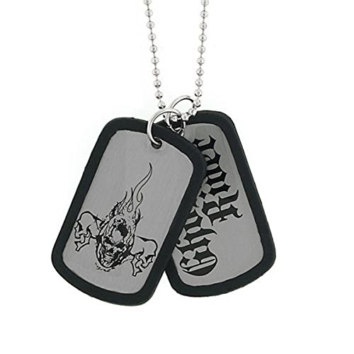 Jewel M Marvel Comics Ghost Rider Black Skull Double Dog Tags Pendant Necklace -