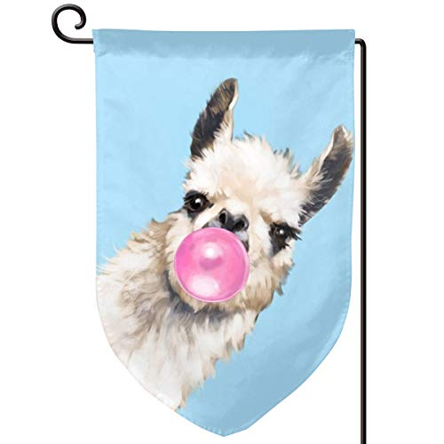 LALACO-Design Bubble Gum Sneaky Llama in Blue Garden Yard Flag 12.5