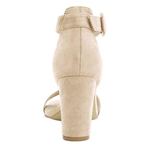 Strap Ankle K Women's Sandals Chunky Beige Allegra Heel xqIX1XT
