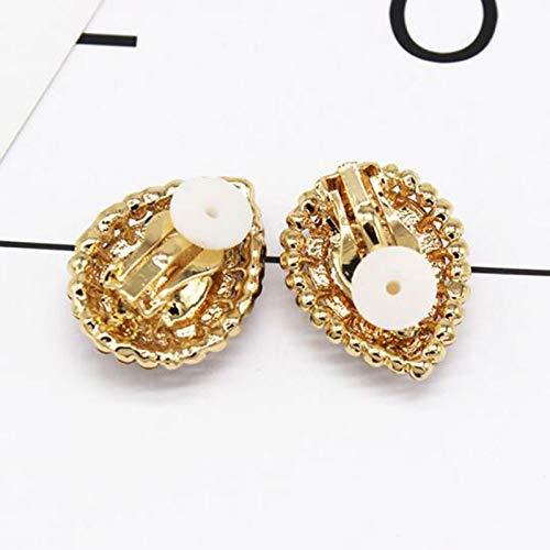 Bohemian Clip on Earrings Blue Crystal Teardrop with CZ Non Pierced Earring for Girls