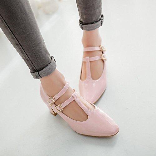 Mee Shoes Damen süß chunky heels Ankle strap Pumps Pink