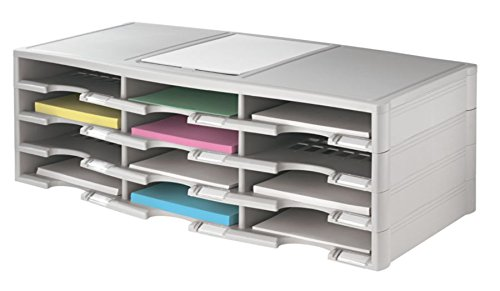 (Office Depot Stackable Plastic Literature Organizer, 12 Compartments, Gray, 40401)