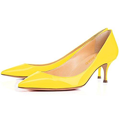 Luistaa Pieni Toimisto Naisille Kitten Patentti Teräväkärkiset Kmeioo Naisten Pumput Keltainen Heels Kengät 58qx5ztIw