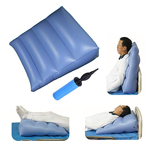 Inflatable Wedge Body Position Air Pillow Wedge Positioning Alignment Acid Reflux Angled Bed Cushion for Travel, Leg Elevation, Sleeping, Reading, Backrest Support with Pump -