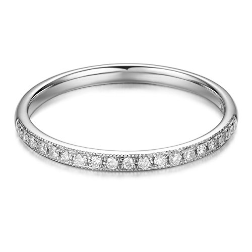 Hafeez Center 14K Solid Gold Diamond Eternity Wedding Band (.13cttw, H-I Color, SI1 Clarity) (White-Gold, 8.5)