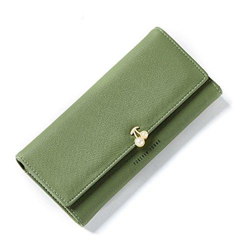 Feminina de Bourse Portefeuilles Long Perle Parti la Cerise Femmes Green Carte Portefeuille Pochette Femme Haoling Titulaire Bourse HPZq4P