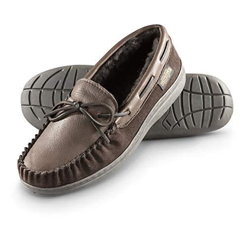 Guide Gear Men's Deerskin Moccasin Slippers, Brown, 11D (Medium) ()