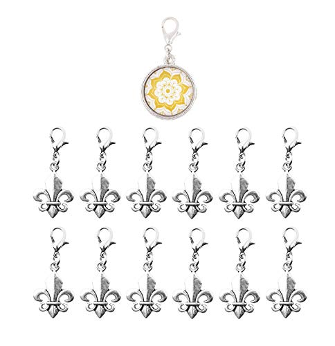 Mandala Crafts Clip On Charms with Lobster Clasp for Bracelet, Necklace, DIY Jewelry Making; Silver Tone, 12 Assorted PCs (Fleur de Lis) (Fleur Large Charm Lis De)