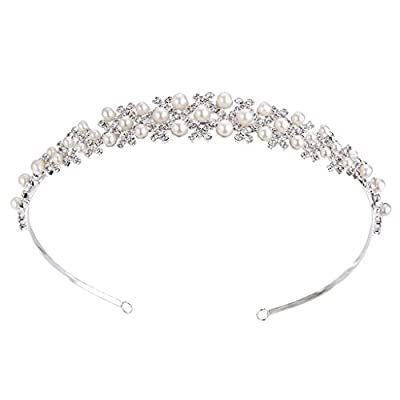 BriLove Women's Bohemian Simulated Pearl Wedding Bride Crystal Romantic Floral Charming Headband