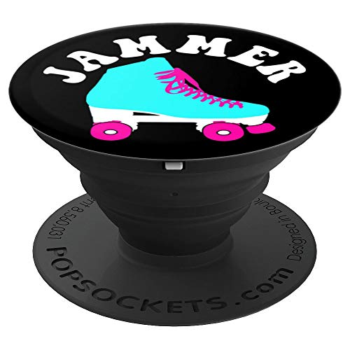 (Roller Derby Jammer Roller Skate Pink Aqua Black - PopSockets Grip and Stand for Phones and Tablets)