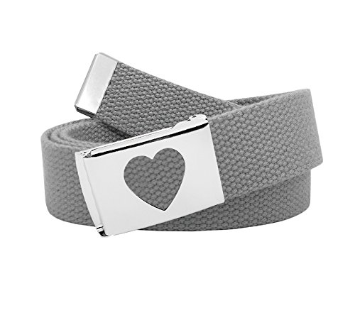 - Girl's School Uniform Silver Flip Top Heart Belt Buckle with Canvas Web Belt Medium Gray
