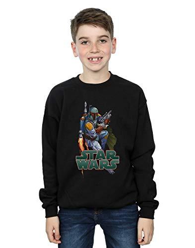 Star Wars Boys Boba Fett Fired Up Sweatshirt Black 7-8 Years