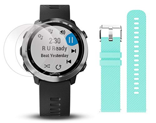Garmin Forerunner 645 Music Gift Box Bundle | with Extra Band, HD Screen Protector Film, Car/Wall Adapters & Protective Case | Running GPS Watch, Music & Spotify, Garmin Pay (Stainless+ Music, Teal)