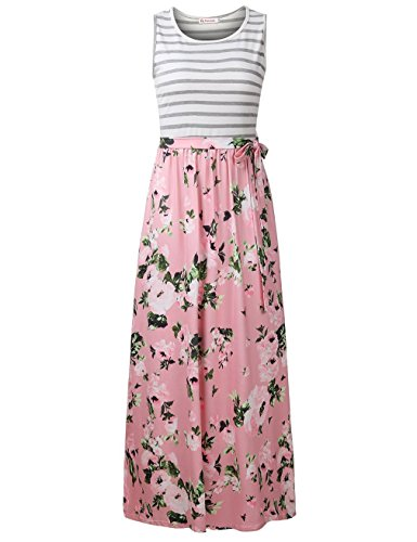 FANVOOK Women's 3/4 Sleeve Striped Floral Print Long Maxi Dress with Pockets (Large, -