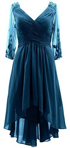 4 Bride 3 the Lo Formal Hi MACloth Teal Sleeves Dress of Neck Mother Women V Gown qpOBT