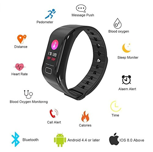 Fitness Tracker Smart Bracelet, Heart Rate, blood pressure/Oxygen Pedometer distance recorder Wearable Waterproof Activity Tracker Watch, Color Display Getfit Por (Pressure Recorder)