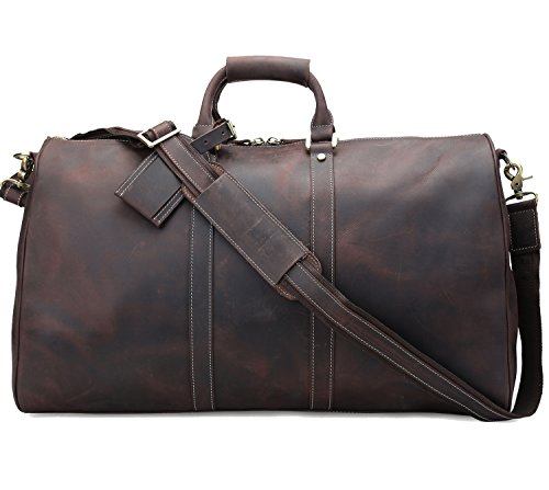 Duffle Retro Thick Cowhide Leather Weekender Travel Duffel luggage Bag