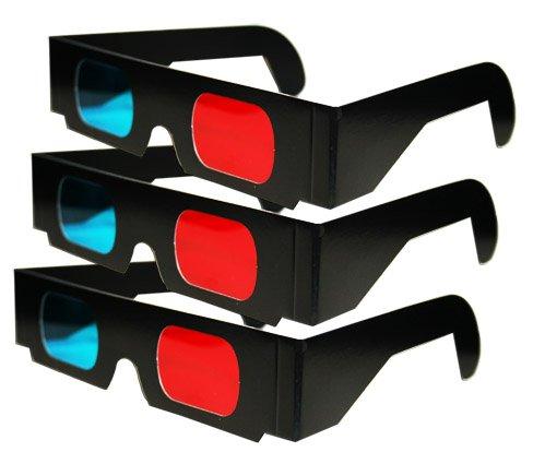 Red /& Cyan 3Pr Anaglyph Black Cardboard 3D Glasses