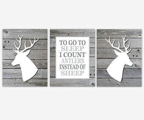Boy Nursery Wall Art Gray Prints Deer Head Antler Rustic Outdoors Hunting To Go To Sleep Quote Decor 3 UNFRAMED PRINTS (Outdoor Hunting Decor)