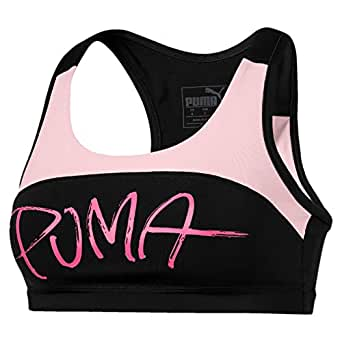 PUMA Women's 4 Keeps Sweet Bra M, Puma Black/Barely Pink, XS