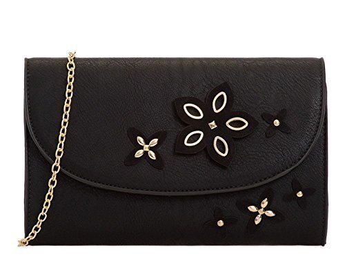 Faux Leather Floral Evening Ladies Strap Chain Detail Bag Clutch Black Aaw4dvRq