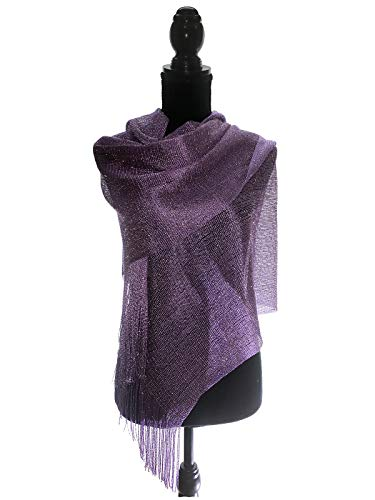 TMS Womens Wedding Evening Wraps Shawl Glitter Metallic Prom Party Scarf with Fringe Scarves (Medium Purple/Gold) ()