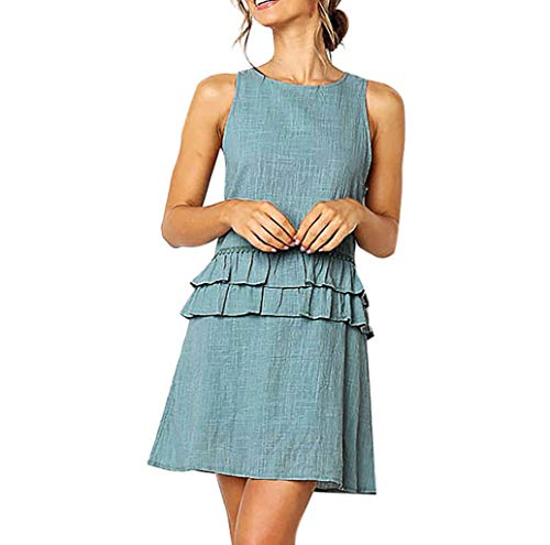 GHrcvdhw Trendy Women Sleeveless Ruffles O-Neck Solid Bandage Beach Casual Mini Dress for Ladies Blue ()