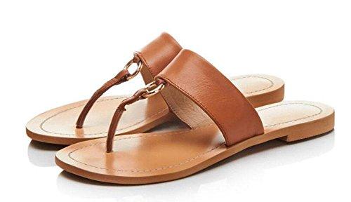 GLTER Mujeres Sandalias Abiertas Toe Flip Flop Bottom Toe Cuero Cool Zapatillas Mujer Zapatos de playa Zapatos ocasionales Rojo Marrón Negro red brown