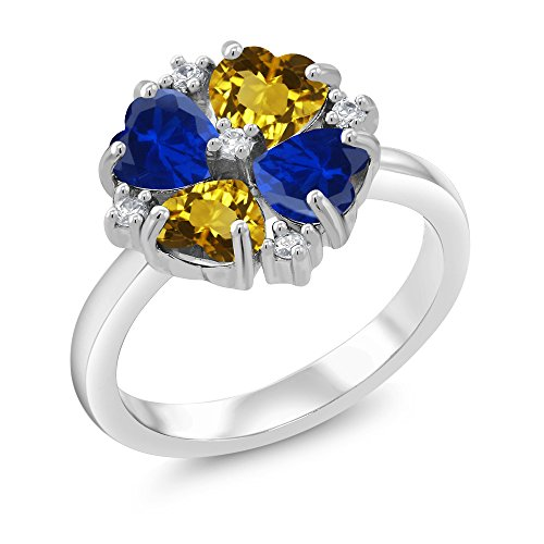 2.22 Ct Yellow Citrine Blue Simulated Sapphire 925 Sterling Silver Ring