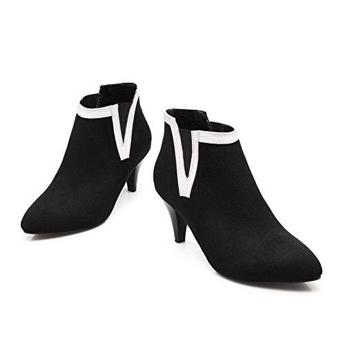AllhqFashion Mujeres Tacón de aguja Tobillo Dos tonos Sin cordones Botas Negro