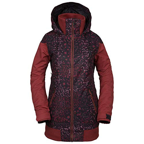 Volcom Women's Meadow Insulated Snow Jacket, Black Floral Print, Small