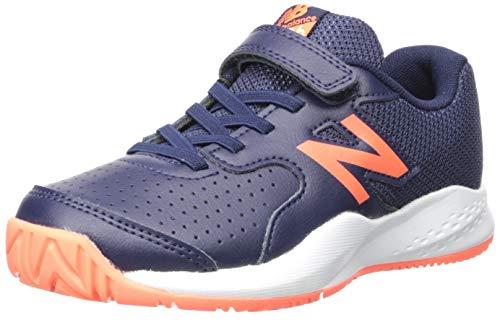 (New Balance Boys' 696v3 Hard Court Tennis Shoe, Pigment/Dark Mango, 11 M US Little Kid)