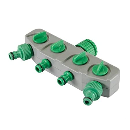 Silverline 167269 4-Wege-Verteiler für Wasserhahnanschluss 3/4 Zoll u. 1/2 Zoll