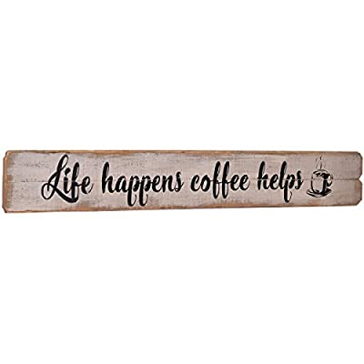 NIKKY HOME Life Happens Coffee Helps Rustic Farmhouse Wooden Wall Decorative Sign 32.09 x 1.1 x 4.53 Inches