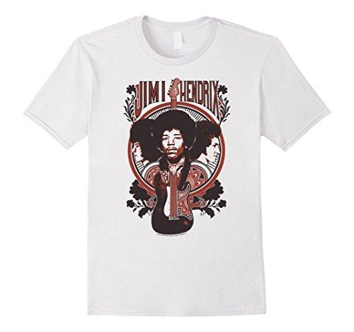 Mens Jimi Hendrix Floral Guitar Art Nouveau Portrait Rock T-Shirt XL (White Guitar Portrait)