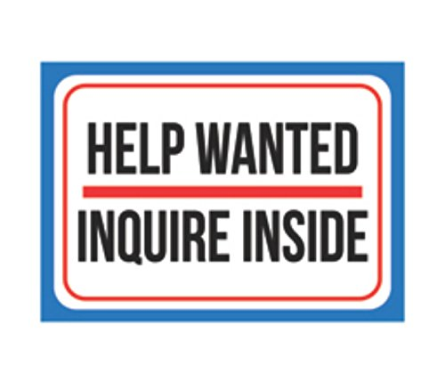 Help Wanted Inquire Inside Print Blue Red White Black Large Poster Office Business Employer Notice Window Sign, 12x18 ()