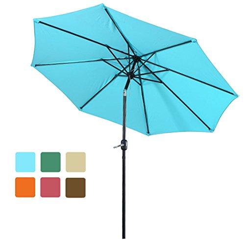 FARLAN Patio Umbrella 9 Ft Outdoor Table Aluminum offset market umbrellas with Push Button Tilt  ...