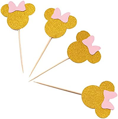 Strange Amazon Com 24Pcs Pink Gold Glitter Minnie Mouse Birthday Cupcake Funny Birthday Cards Online Necthendildamsfinfo