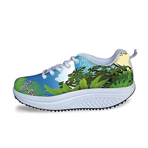 YOLIYANA Leaf Cool Shake Shoes,Beach Theme Island Jungle Sea Shore Ocean View with Side Flowers Crepe Gingers Print for Women,US Size6