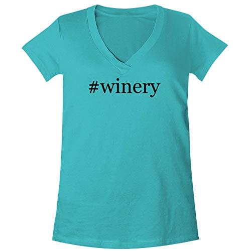 The Town Butler #Winery - A Soft & Comfortable Women's V-Neck T-Shirt, Aqua, ()