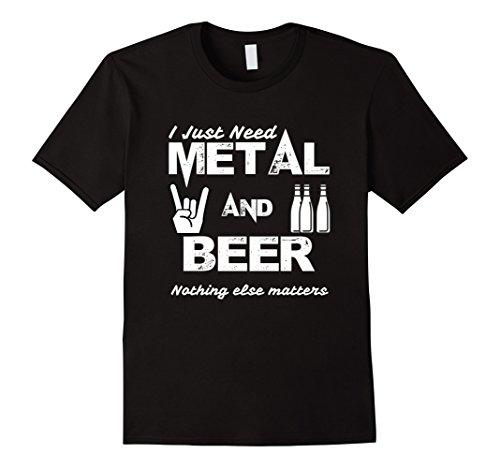 Mens Metal and Beer Heavy Metal T-Shirt Large Black (Heavy Metal Clothing)