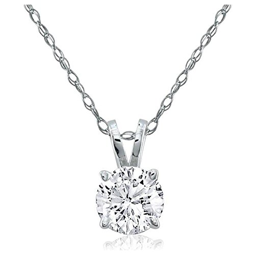 Solitaire Round Diamond Pendant with 14k White Gold Chain Necklace (0.15 (0.15 Total Carat Weight)