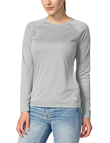 BALEAF Women's UPF 50+ Sun Protection T-Shirt Long Sleeve Outdoor Performance Grey Size L