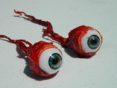 Pair of Realistic Life size Bloody Ripped Out Eyeballs - Halloween props - FL02