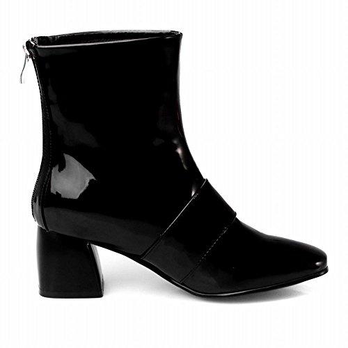 Carolbar Women's Western Chic Square Toe High Heel Patent Zip Short Boots Black MgQmMmJC7W