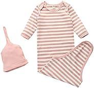 Newborn Unisex Baby Cotton Striped Sleepwear Nightgown & Headband Set Knotted Sleeping