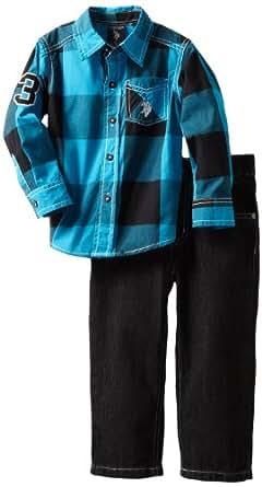 U.S. POLO ASSN. Little Boys' Plaided Shirt with Jean, Teal, 2T